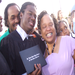 Dino Alum, James with his mom at graduation.  85% of DinoMights graduate, compared to only 55% of MPLS public schools.