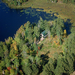 Aerial view WRI research cabin in the Northwoods.