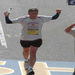 Crossing the finish line in 2010 Boston Marathon..