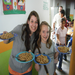 At one of the daycares, we helped serve lunch.