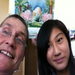 Josefa and I (Jade Kikuchi) with my landscape watercolor, behind our heads, that I just finished!