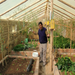 Bolivian man in his greenhouse