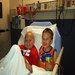Josiah and Noah hamming it up on a trip to the hospital for chemotheropy