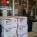 Mr. Javon Johnson preparing to mail the final shipment for Spring 2012 Care Package Campaign
