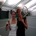 Doubles partner, Lorelei, and I, celebrating a victory.