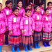 Group of girls with their new winter coats and boots.
