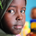 A female student in Djibouti watched as US Marines installed a new library in her school.