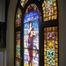 Interior stained glass window, given in honor of library benefactor, John Francis Clapp