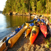 Kayaks on Turn Island, Adult Sea Kayaking course with Joel Reid