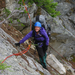 Student CeCe travelling on a fixed line, Adult Wilderness Leadership course