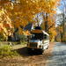 The bus in an autumn glow