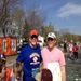 April 16, 2012 - Mile 20 with my brother, Tom, and a lot of kids cheering us on a very hot day!
