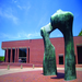 Large Arch by Henry Moore installed on Bartholomew County Library Plaza