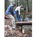 Volunteers building a new bridge at HLT's Breckenridge property