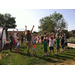Morning circle is a time when all campers and counselors sing songs and play games to learn about the garden and animals