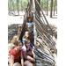 Campers learn how to construct survival shelters using only peices from the environment as building materials.