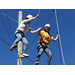 Campers take part in team building exercises at the NAU Ropes Course