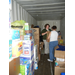 Foundation staff working in PODS unit sorting donated items for tornado victims