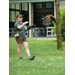 VINS intern Angela demonstrates hawk flight with our Harris' hawk.