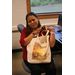 Leann and her S.T.E.M bag. Her scholarship now benefits students in the S.T.E.M fields.