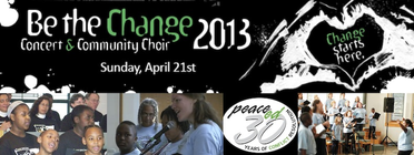 The Be the Change Community Choir and Concert banner