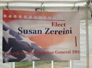 Susan Zereini for Solicitor General banner