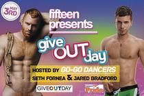 Kickoff for giveOUT Day for Campus Pride at Fifteen Raleigh banner
