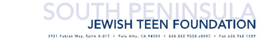 South Peninsula Jewish Teen Foundation 2015-16 banner