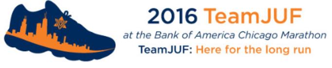 TeamJUF at the 2016 Bank of America Chicago Marathon banner